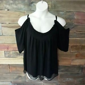 Nicole Miller Womens Black Cold Shoulder Blouse